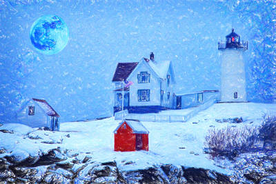 Cape Neddick Painting - Cape Neddick Light Snow Pastel by MotionAge Designs