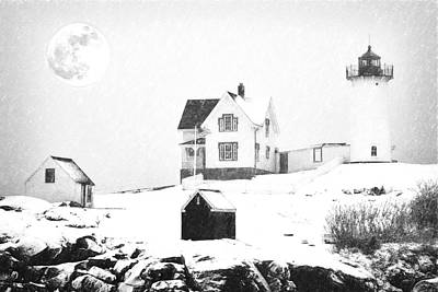 Cape Neddick Painting - Cape Neddick Light Snow Sketch by MotionAge Designs