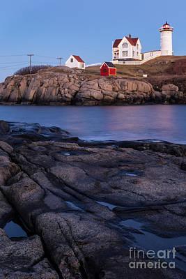 Cape Neddick Light Station Photograph - Cape Neddick Lighthouse Along Maine's Rocky Shores York Beach Maine  by Dawna  Moore Photography