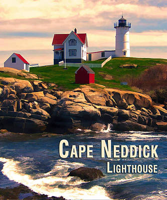New England Lighthouse Painting - Cape Neddick Lighthouse  At Sunset  by Elaine Plesser