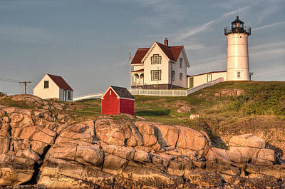 Cape Neddick Lighthouse In Evening Light 2 Print by At Lands End Photography