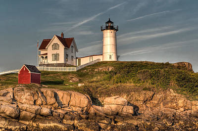 Cape Neddick Lighthouse In Evening Light Print by At Lands End Photography