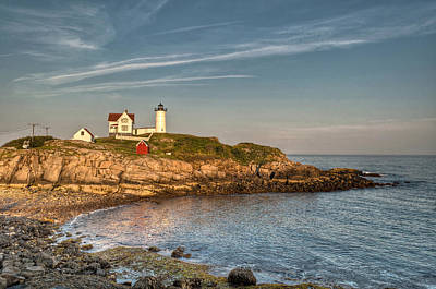 Cape Neddick Lighthouse Island In Evening Light Print by At Lands End Photography
