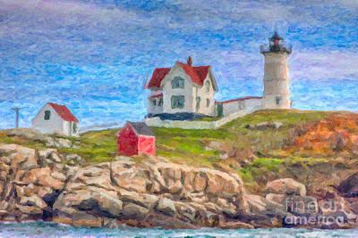 Impasto Oil Photograph - Cape Neddick Nubble Lighthouse Impasto by Clarence Holmes