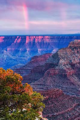 San Francisco Peaks Photograph - Cape Royal Rainbow Over The South Rim - Grand Canyon National Park Arizona by Silvio Ligutti