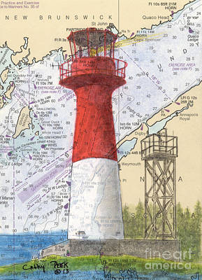 Chart Painting - Cape Spencer Lighthouse Nb Canada Nautical Chart Map Art by Cathy Peek