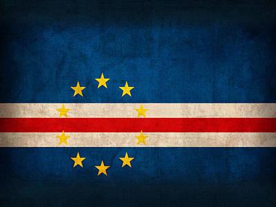 Cape Verde Flag Vintage Distressed Finish Art Print