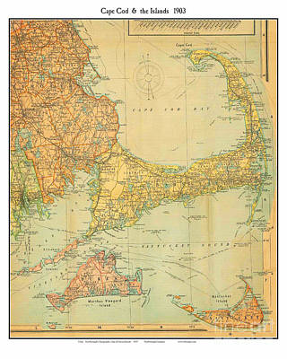 Engraving Painting - Capecod Mass 1903 by Celestial Images