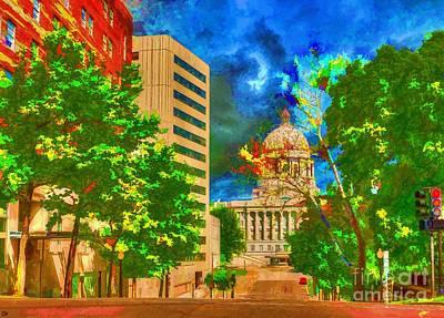 Painting - Capital - Jefferson City Missouri - Painting by Liane Wright
