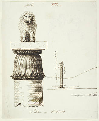 Capital Of The Lion Pillar At Basarh Print by British Library