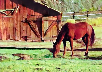 Painting - Capital Reef Farm Horse And Gifford Barn by Bob and Nadine Johnston