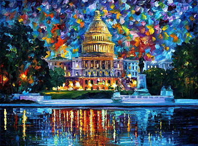 Free Painting - Capitol At Night Washington - Palette Knife Oil Painting On Canvas By Leonid Afremov by Leonid Afremov