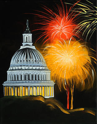 Fireworks Painting - Capitol Fourth Of July by Anne Lewis