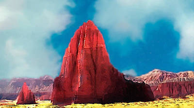 Abstract Male Faces - Capitol Reef Temple of the Sun Painting ForSale by Bob and Nadine Johnston