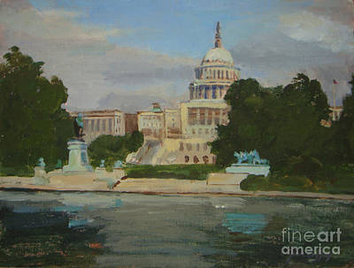 Capitol Building Painting - Capitol Reflections by Joan Coffey