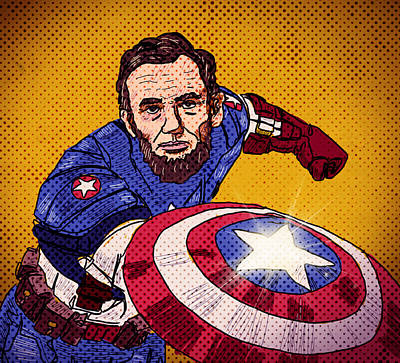 Captain America Drawing Drawing - Cap'n Abe 'merica by Mike Brennan