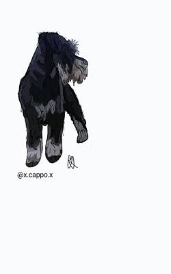 Cute Schnauzer Digital Art - Cappo The Schnauzer by Doodling  Petz
