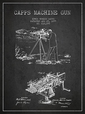 Smallmouth Bass Digital Art - Capps Machine Gun Patent Drawing From 1899 - Dark by Aged Pixel