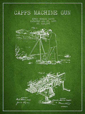 Smallmouth Bass Digital Art - Capps Machine Gun Patent Drawing From 1899 - Green by Aged Pixel