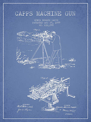 Capps Machine Gun Patent Drawing From 1899 - Light Blue Art Print by Aged Pixel