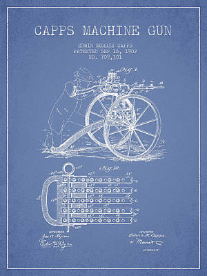 Bass Digital Art - Capps Machine Gun Patent Drawing From 1902 - Light Blue by Aged Pixel