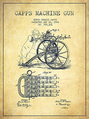 Rifle Digital Art - Capps Machine Gun Patent Drawing From 1902 - Vintage by Aged Pixel