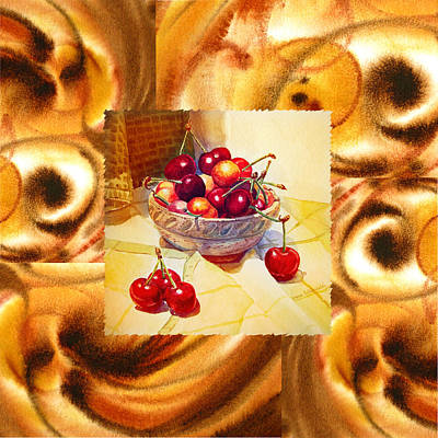 Abstractions Painting - Cappuccino Abstract Collage Cherries by Irina Sztukowski