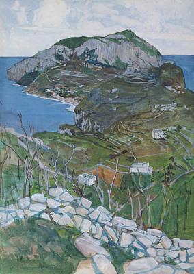 Coastal Landscape Drawing - Capri, C.1904 by Maurice Greiffenhagen