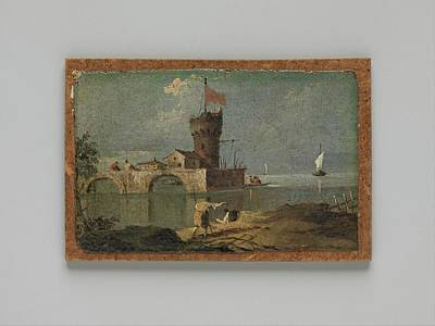 Masonite Painting - Capriccio With A Circular Tower, Two by Follower of Francesco Guardi