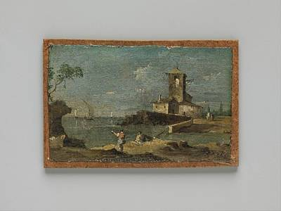 Masonite Painting - Capriccio With A Square Tower And Two by Follower of Francesco Guardi
