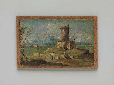 Masonite Painting - Capriccio With An Island, A Tower by Follower of Francesco Guardi
