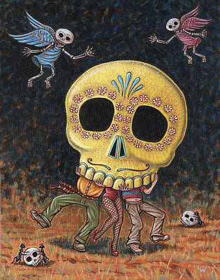 Painting - Caprichos Calaveras #2 by Holly Wood