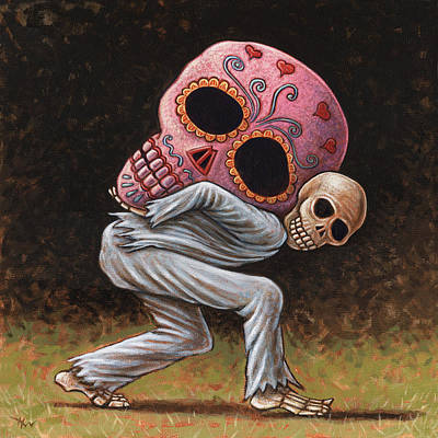 Calavera Painting - Caprichos Calaveras #4 by Holly Wood