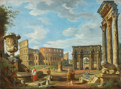 Giovanni Paolo Panini Painting - Capricio Of Roman Monuments With The Colosseum And Arch Of Constantine by Giovanni Paolo Panini