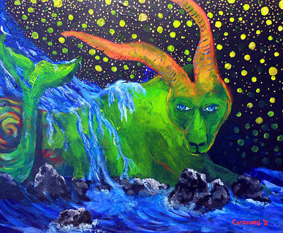 Painting - Capricorn-signs Of The Zodiac by Rick Carbonell