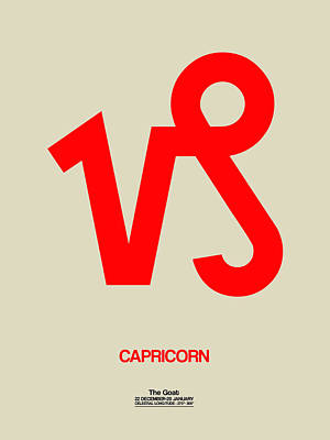 Virgo Digital Art - Capricorn Zodiac Sign Red by Naxart Studio