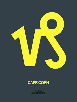 Libra Digital Art - Capricorn Zodiac Sign Yellow by Naxart Studio