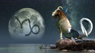 Goat Digital Art - Capricorn Zodiac Symbol by Daniel Eskridge
