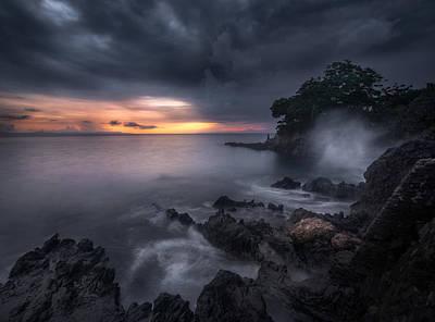 Ocean Sunset Wall Art - Photograph - Caprusan Temple Sunset by Ade Rizal