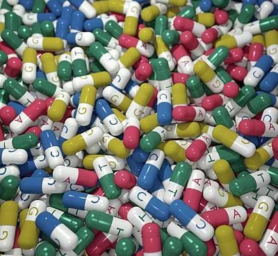 Large Group Of Objects Photograph - Capsules Labelled With Bases Of Dna by Robert Brook