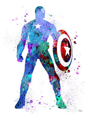 Captain America 2 Art Print by Watercolor Girl