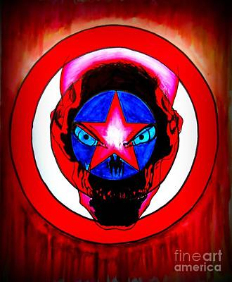 Captain America Drawing Drawing - Captain America And Red Skull Rust by Justin Moore