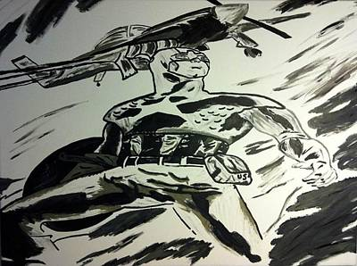 Captain America Black And White Original by Brandy Slone