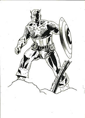 Captain America Ink Sketch Original by Laura Lewis