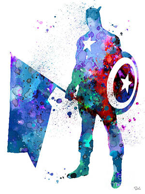 Captain America Art Print by Watercolor Girl
