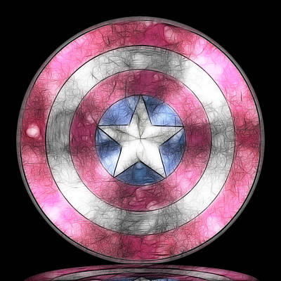 Captain America Shield Digital Painting Original by Georgeta Blanaru