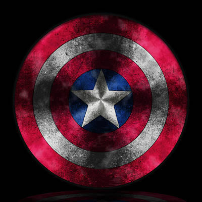 Digital Painting - Captain America Shield by Georgeta Blanaru