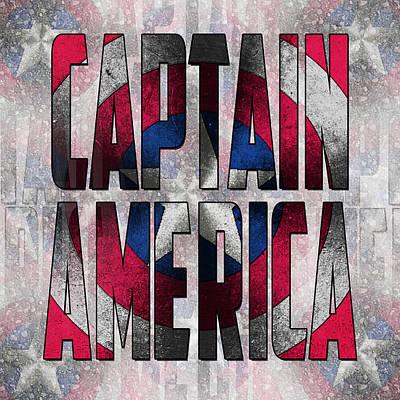 Captain America Shield Typography Design Art Print