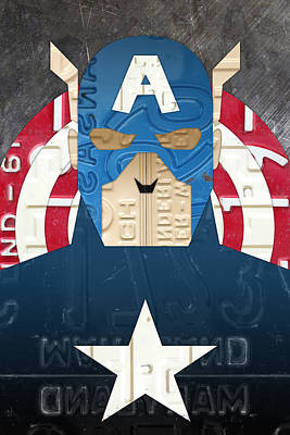 Captain America Superhero Portrait Recycled License Plate Art Art Print