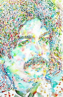 Captain Beefheart Painting - Captain Beefheart Watercolor Portrait by Fabrizio Cassetta
